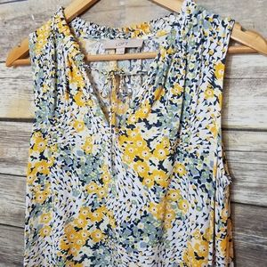 Loft Floral Sleevless Keyhole Shift Dress Pockets